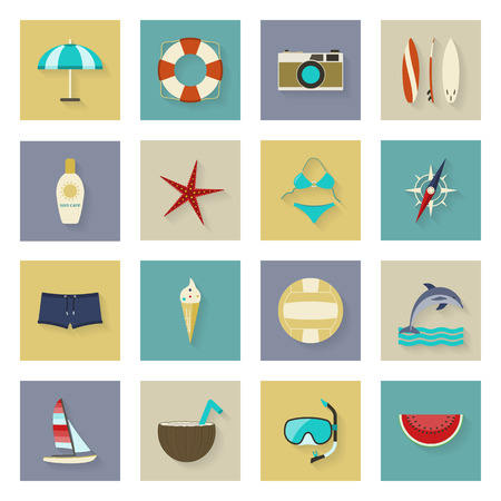 watermelon boat: Beach vacation and travel flat icons set vector graphic illustration