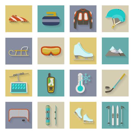 Winter sports flat icons set graphic illustration design Vector