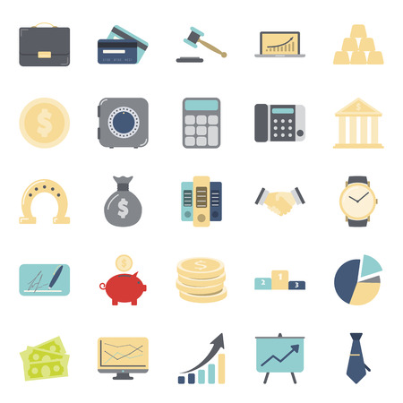 catalogs: Business and finance flat icons set graphic design