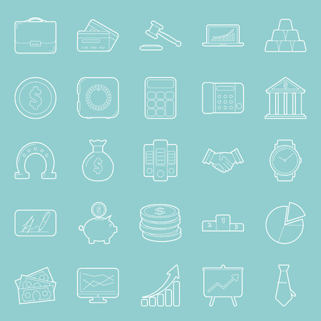 catalogs: Business and finance thin lines icons set graphic design