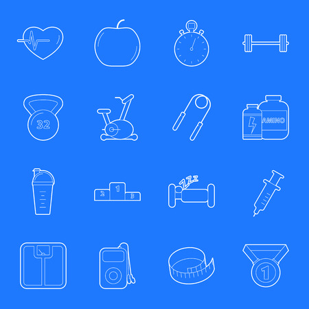 Fitness and gym thin lines icons set graphic design