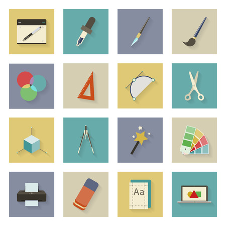 palette knife: Graphic and design flat icons set vector graphic illustration