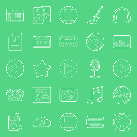 Music and audio thin lines icons set graphic design Vector