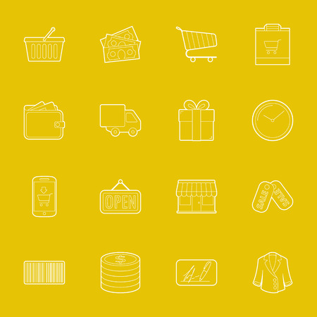 Shopping thin lines icons set illustration graphic design Vector