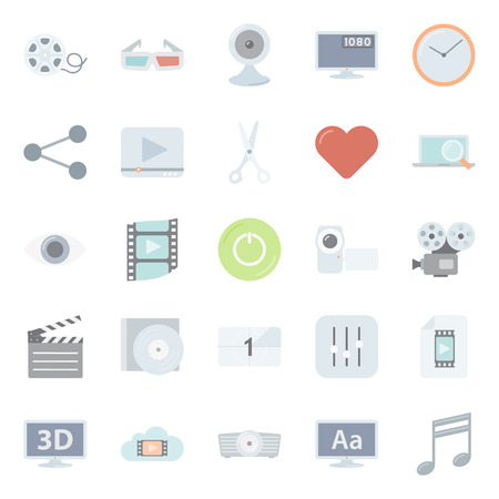 subtitles: Video flat icons set vector graphic illustration design