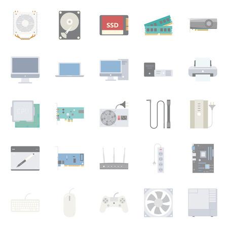 Computeronderdelen en randapparatuur vlakke pictogrammen set grafische illustratie ontwerp