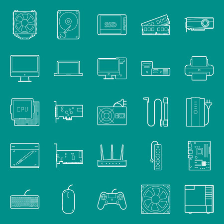 peripherals: Computer components and peripherals thin lines icons set graphic illustration design