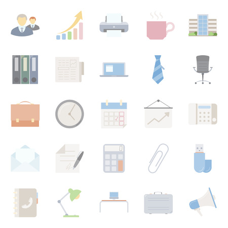 Office and marketing flat icons set graphic illustration design Vector