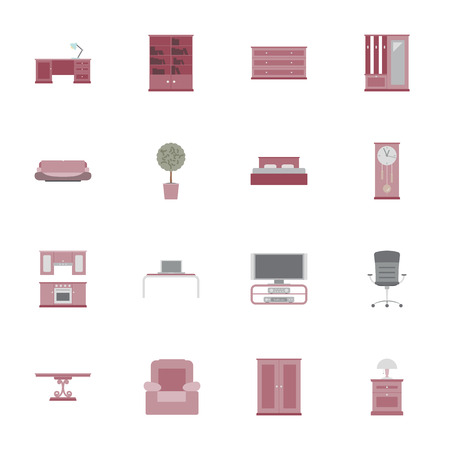 Furniture flat icon set vector graphic illustration Vector