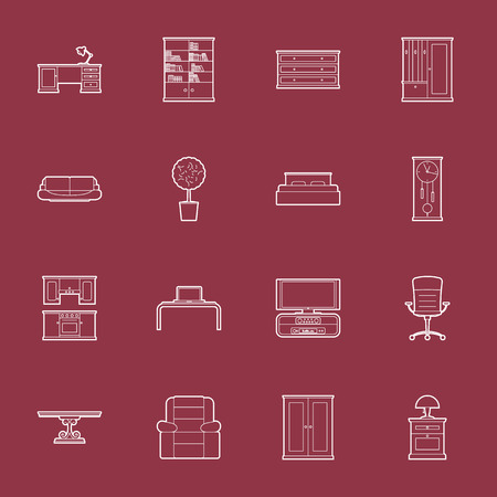 Furniture thin lines icon set vector graphic illustration Vector