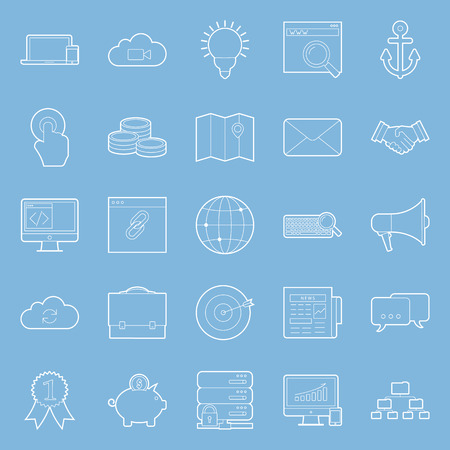 emarketing: Seo and e-marketing thin lines icon set vector graphic illustration Illustration
