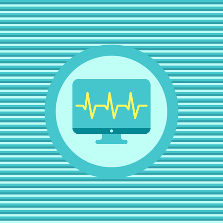 cardiogram: Monitor cardiogram color flat icon vector graphic illustration Illustration