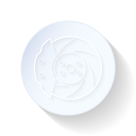 Car brake discs thin lines icon vector graphic illustration