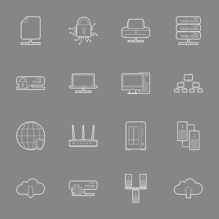 Computer Systems and Networks thin lines icons set vector graphic illustration Vector