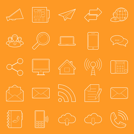 Comunication and web thin lines icons set vector graphic illustration design Vector