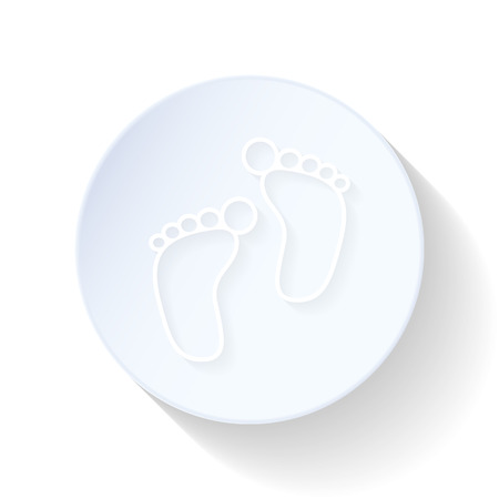 baby footprint: Baby footprint thin lines icon vector graphic illustration