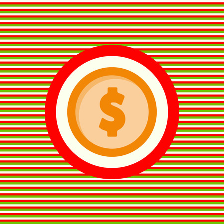 Dollar coin color flat icon vector graphic illustration