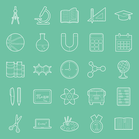 Education and school thin lines icons set vector graphic illustration Vector