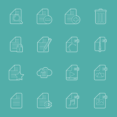 Files and documents thin lines icons set vector graphic illustration Vector