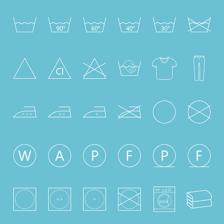 Washing and ironing clothes thin lines icon set vector graphic illustration Vector