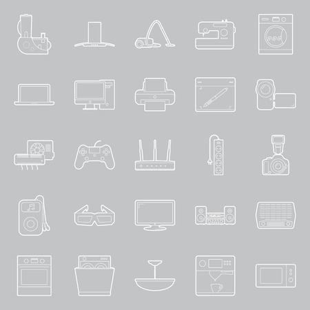 Home electrical appliances thin lines icon set vector graphic illustration Vector