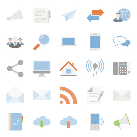 comunication: Comunication and web color flat icons set vector graphic illustration design