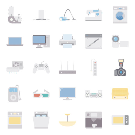 electrical appliances: Home electrical appliances color flat icon set vector graphic illustration Illustration