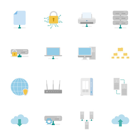 shared sharing: Computer Systems and Networks color flat icons set vector graphic illustration Illustration