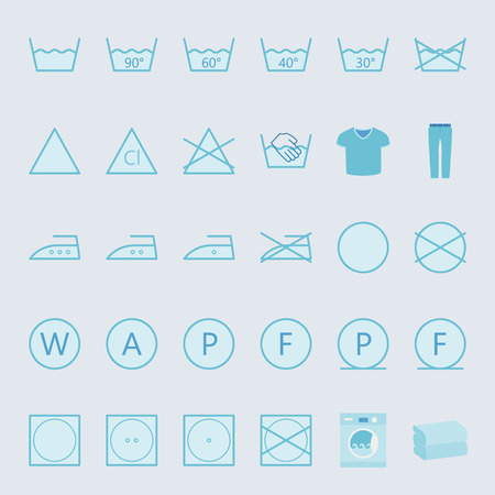laundry care symbol: Washing and ironing clothes color flat icon set vector graphic illustration