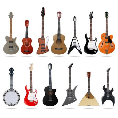 Set van verschillende gitaren, vector grafische illustratie Stock Illustratie
