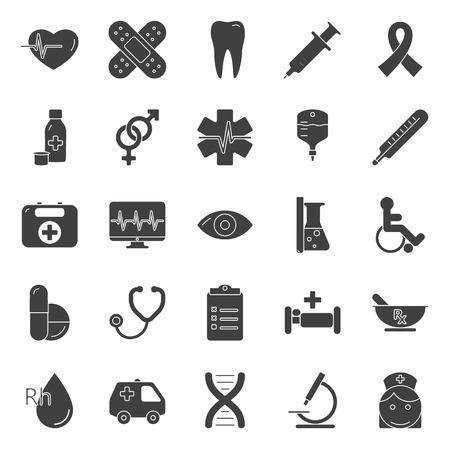 Medische silhouet iconen set grafische illustratie ontwerp Stock Illustratie