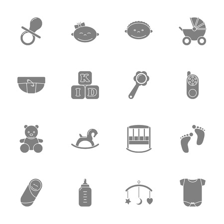 nappies: Baby silhouette icons set graphic illustration design