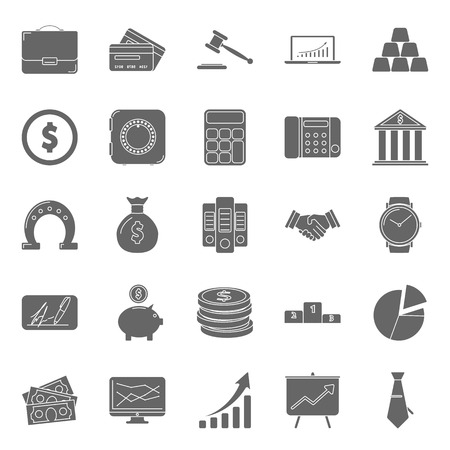 bisiness: Bisiness and finance silhouettes icons set vector graphic design Illustration