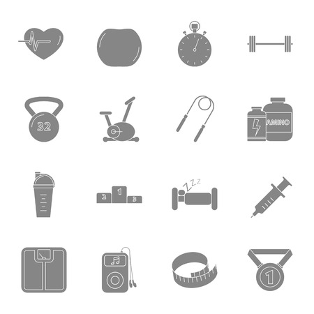 Fitness and gym silhouettes icons set vector graphic design