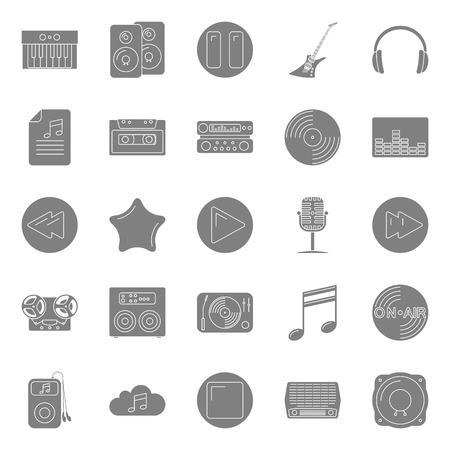 letras musicales: Música y audio siluetas iconos conjunto diseño gráfico Vectores