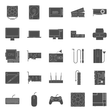 peripherals: Computer components and peripherals silhouettes icons set graphic illustration design