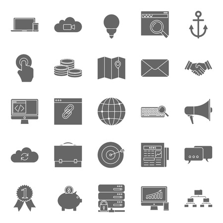 emarketing: Seo and e-marketing silhouettes icon set vector graphic illustration Illustration