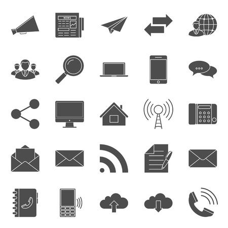 Comunication and web silhouettes icons set vector graphic illustration design