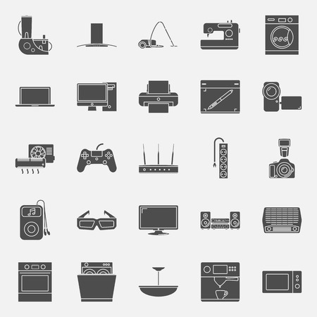 electrical appliances: Home electrical appliances silhouettes icon set vector graphic illustration