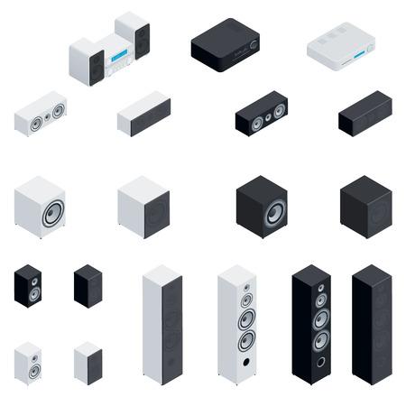 speaker icon: Acoustic highly detailed isometric set vector graphic illustration design Illustration