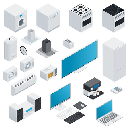 Household appliances isometric set vector graphic illustration Vector