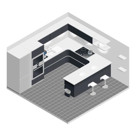 아이소 메트릭 부엌 벡터 그래픽 일러스트 디자인을 설정 일러스트