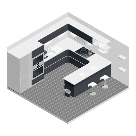 Isometric kitchen set vector graphic illustration design Illusztráció