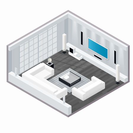 Living room isometric set vector graphic illustration