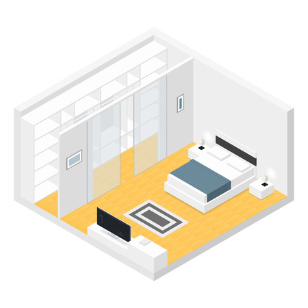 bedroom interior: Bedroom isometric set vector graphic illustration design