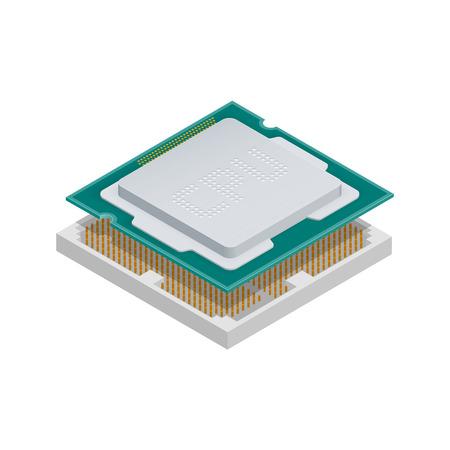 processor: Processor isometric detailed icon vector graphic illustration