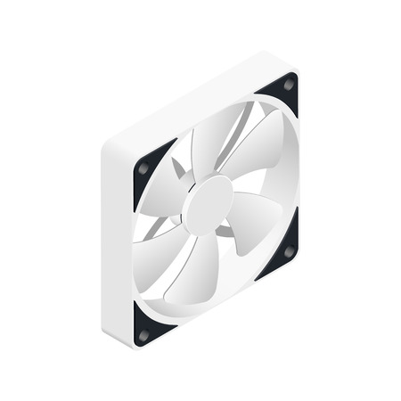 pc case: Computer fan isometric detailed icon vector graphic illustration