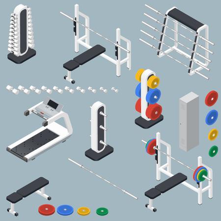 Atletisch accessoires voor fitness center isometrische pictogrammen instellen vector grafische illustratie