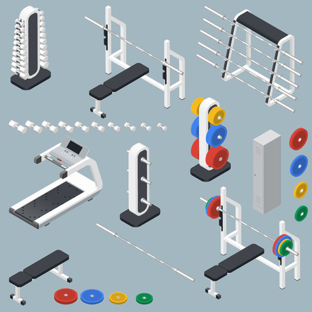 Athletic accessories for fitness center isometric icons set vector graphic illustration Vector