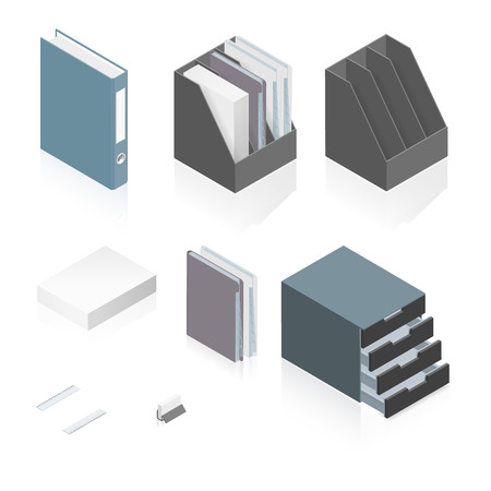 paper stack: Files, folders, paper stack, storage boxes and a detailed isometric set vector graphic illustration